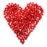 Семена гранатового дерева сердца влюбленности форменные Стоковое Изображение RF