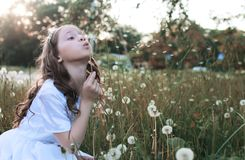 Семена девушки дуя от одуванчика цветка в осени Стоковые Изображения