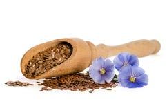 Семена льна в деревянных цветках ветроуловителя и красоты Стоковое фото RF