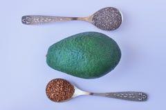 Семена льна, Chia и авокадо источник омеги 3 unsaturated Стоковые Изображения RF