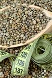 Семена пеньки в деревянной ложке с сантиметром стоковые фотографии rf