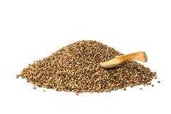 Семена пеньки с ложкой Стоковая Фотография