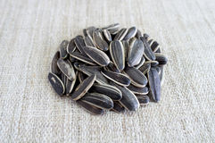 Семена подсолнуха на холсте Стоковые Фото