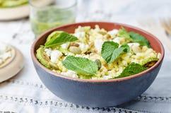 Семена, салат козий сыра с шлихтой кориандра Стоковая Фотография RF