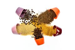 Семена, специи, зерно, бодрствование поднимающее вверх и смешанное друг с другом Стоковые Изображения RF