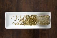 Семена тыквы разливая из контейнера, сверху Стоковые Изображения RF