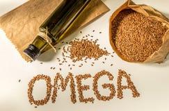 Семена льна, масло льняного семени в бутылке еда здоровая Стоковые Изображения