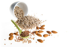 Семена льна, семена подсолнуха, миндалины Стоковое Фото
