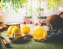 Семена chia вытрезвителя выпивают с оранжевыми куском, лимонным соком и клюквами плода в стеклянных опарниках с выпивая соломой н стоковые фотографии rf