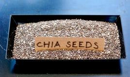 Семена Chia в черном шаре Стоковое Изображение