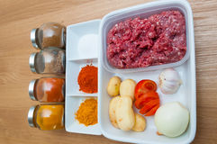Семенить мясо и азиатские специи Стоковые Изображения