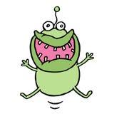 Семенозачаток шаржа зеленый скача с счастьем также вектор иллюстрации притяжки corel иллюстрация вектора