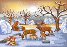 Семьи животных наслаждаясь зимним временем иллюстрация вектора