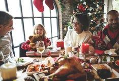 Семьи концепция торжества рождества совместно стоковое изображение rf
