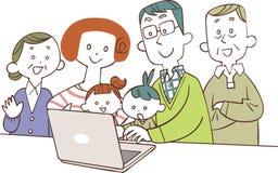 3 семьи поколения наблюдая персональные компьютеры иллюстрация вектора