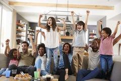 2 семьи смотря спорт на телевидении и веселить стоковые фотографии rf