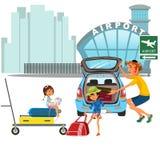 Семьянин с переходом автомобиля девушек к авиапорту Папа при дети нося вагонетку с багажом на улице города около автомобиля Стоковые Изображения