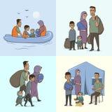 Семья беженца с детьми Плавать к Европе на шлюпке Переход и жизнь земли в лагере беженцев европейско иллюстрация штока