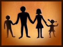 Семья Бумажное вырезывание Стоковое Изображение