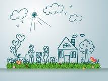 Семья вектора счастливая с домом Стоковое Изображение