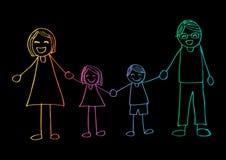 семья вручает счастливый усмехаться удерживания иллюстрация вектора
