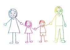 семья вручает счастливый усмехаться удерживания иллюстрация штока