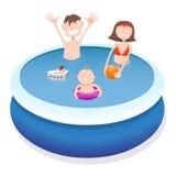 Семья в бассейне Стоковые Фото