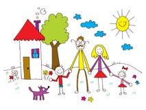Семья в детях рисуя стиль Стоковые Фото