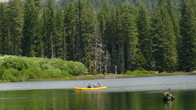 Семья в каяке на озере около леса акции видеоматериалы