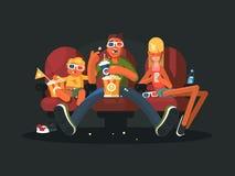 Семья в кино смотря кино Стоковое фото RF