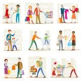 Семья в магазине иллюстрация штока