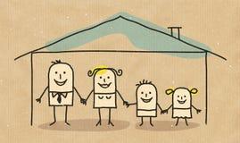 Семья в доме бесплатная иллюстрация