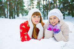 Семья в парке зимы Стоковое Изображение RF