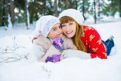 Семья в парке зимы Стоковая Фотография