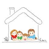 Семья в сладостном доме бесплатная иллюстрация
