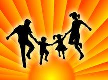 Семья в солнце Стоковое фото RF