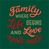 Семья где жизнь начинает и не любит никогда концы иллюстрация вектора