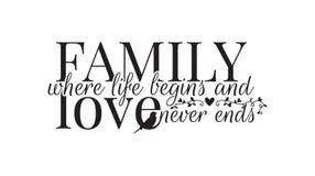 Семья где жизнь начинает, и не любит никогда концы, этикеты стены, формулируя дизайн стоковые фотографии rf