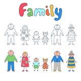 Семья: деды, родители и дети Комплект элементов в стиле doodle и шаржа иллюстрация вектора