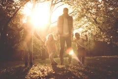 Семья держа руки и идя ринв паркуют совместно Стоковое фото RF