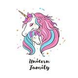 Семья единорога Любовь волшебство сновидение иллюстрация штока