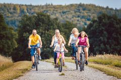 Семья ехать их велосипеды на после полудня в сельской местности Стоковые Фотографии RF