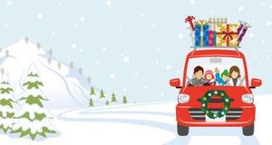 Семья ехать красный автомобиль который нагрузил много подарки рождества иллюстрация штока