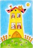 Семья жука Ladybird, чертеж ребенка, картина акварели Стоковая Фотография