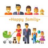 Семья значка установленная счастливая Родители и дети Стоковые Фото