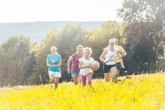 Семья играя, бежать и делая спорт в лете стоковое фото rf
