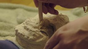 Семья играя в археологии разрушает гипсолит для того чтобы получить скелет археологический парк paphos kato землероев Кипра видеоматериал