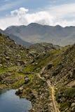 Семья идет вдоль железной дороги в горах стоковое фото