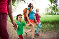 Семья идет расположиться лагерем в древесинах Стоковое Фото