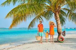 Семья из трех человек на пляже под пальмой стоковое изображение